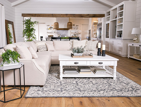country/rustic dining room with Magnolia Home Homestead sofa
