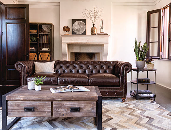 Industrial Living room with Mansfield sofa