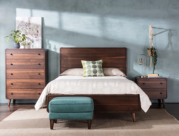 Mid Century bedroom with Xander bed