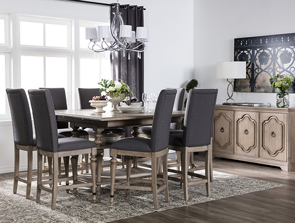 traditional dining room with caira dining set