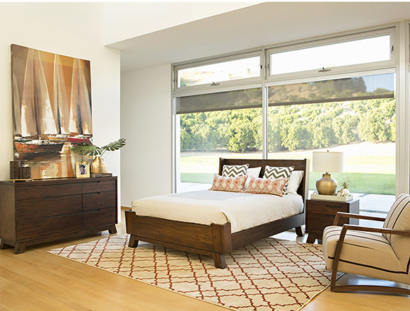 transitional bedroom with blake bed