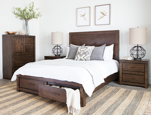 transitional bedroom with riley bed