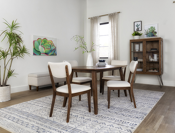 boho Dining Room with Kara 5 Piece Rectangle Dining Set With Upholstered Back Chairs