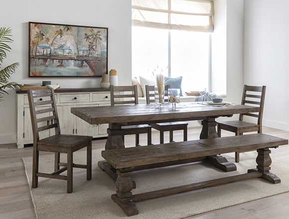 country-rustic Dining Room with Caden 6 Piece Rectangle Dining Set