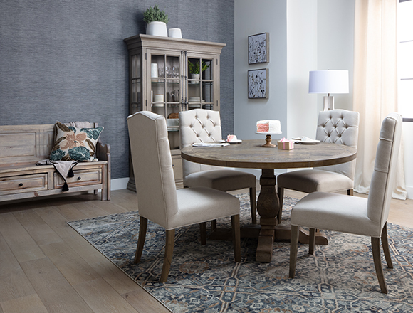 country-rustic Dining Room with Caden 5 Piece Round Dining Set With Biltmore Chairs