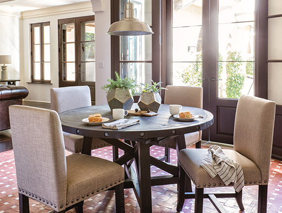 country-rustic Dining Room with Jaxon Round Extension Dining Table