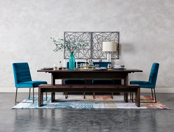 mid-century Dining Room with Wyatt Dining Table