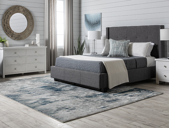 modern Bedroom with Damon Charcoal Queen Upholstered Platform Bed With Storage