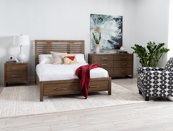 modern Bedroom with Kevin Queen Panel Bed With Storage