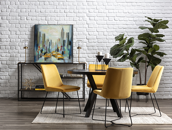 modern Dining Room with Macie Black Dining Table