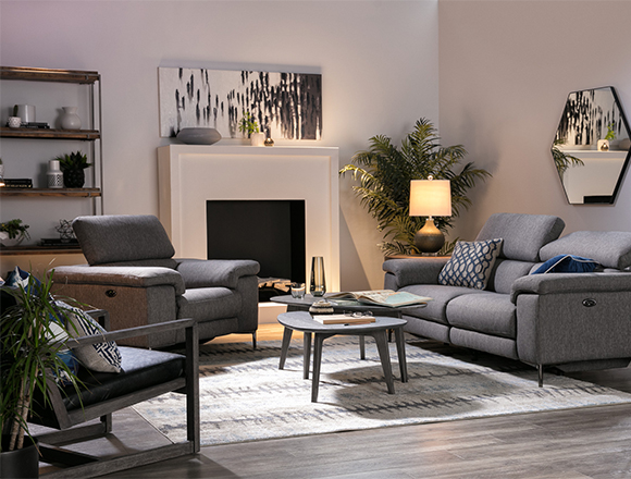 modern Living Room with Talin Power Reclining Sofa W/Usb