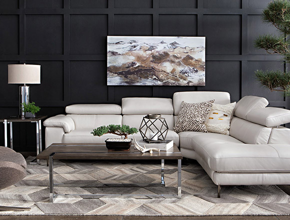 modern Living Room with Tess 2 Piece Power Reclining Sectional W/Raf Chaise