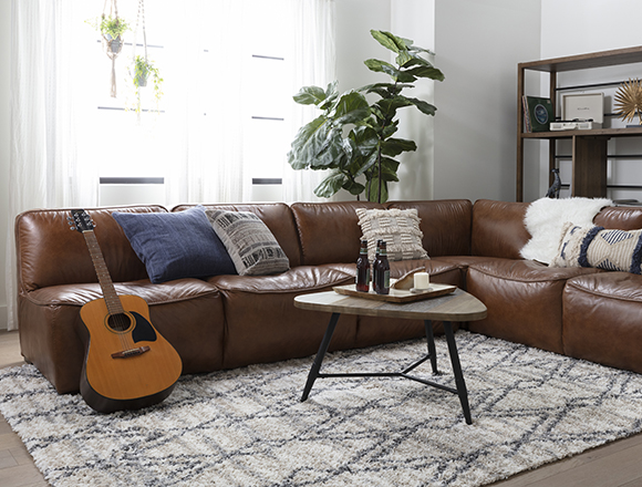 modern Living Room with Burton Leather 3 Piece Sectional W/2 Loveseats