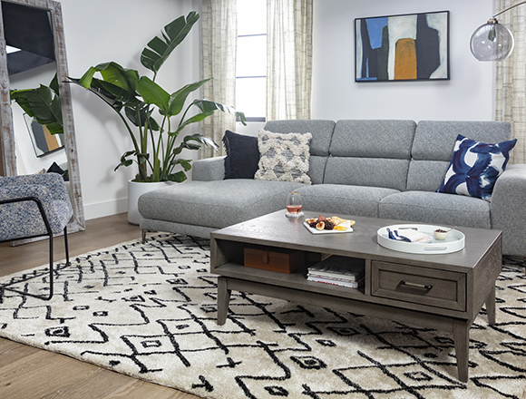 modern Living Room with Maddie Grey 2 Piece Sectional With Left Arm Facing Chaise