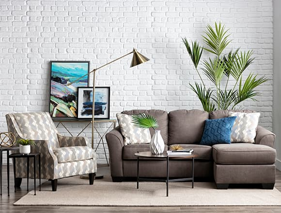 modern Living Room with Tucker Sofa With Reversible Chaise