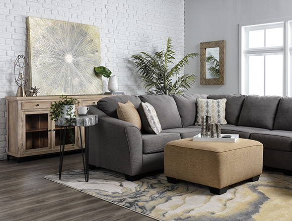modern Living Room with Fenton 3 Piece Sectional With Raf Cuddler