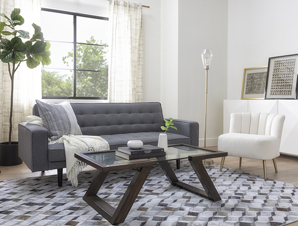 modern Living Room with Petula Slate Convertible Sofa Bed