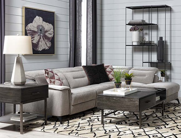 modern Living Room with Lexi Platinum 2 Piece Power Reclining Sectional With Right Arm Facing Chaise and Usb
