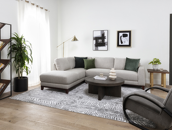 modern Living Room with Amherst Cobblestone 2 Piece 114