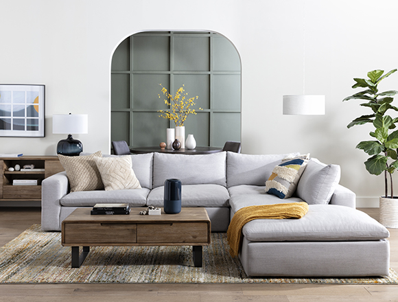 modern Living Room with Utopia 2 Piece Sectional With Right Arm Facing Chaise