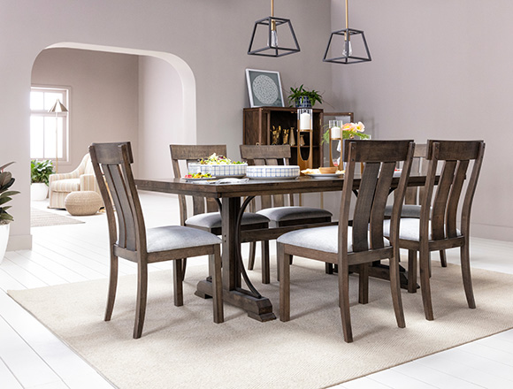 traditional Dining Room with Delfina 7 Piece Dining Set