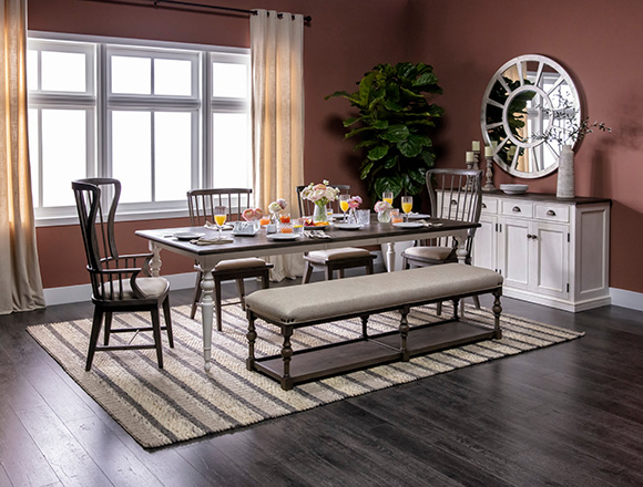transitional Dining Room with Candice II 6 Piece Extension Rectangle Dining Set