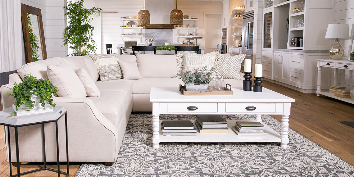 Country/Rustic Living Room with Magnolia Home Homestead sofa