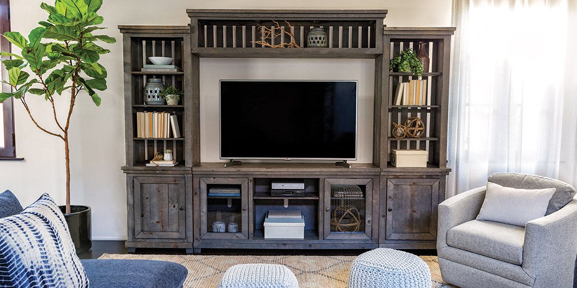 Coastal Living Room with Sinclair Entertainment Center