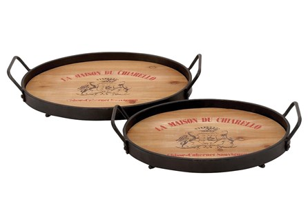 2 Piece Set Wood And Metal Trays