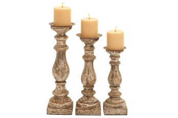 3 Piece Set Wooden Candleholders