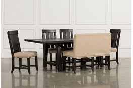 Jaxon 6 Piece Rectangle Dining Set With Bench & Wood Chairs