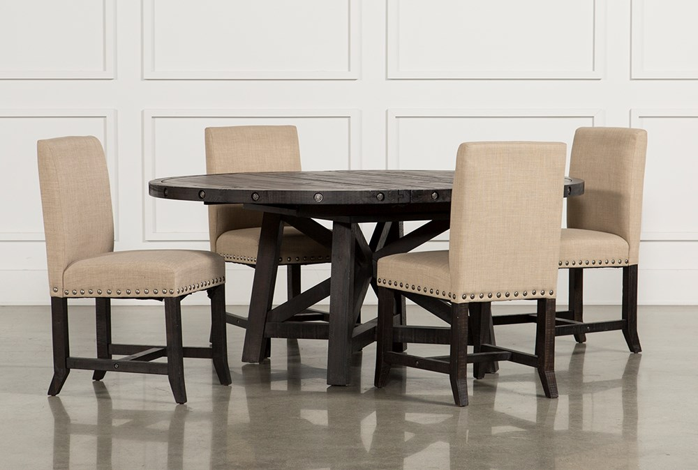 Jaxon 5 Piece Round Dining Set With Upholstered Chairs