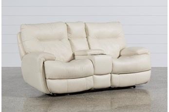 Oliver Ivory Leather Power Reclining Loveseat W/Console