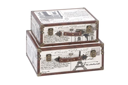 2 Piece Set Wood & Leather Boxes