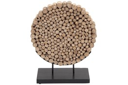 Round Teak Wooden Decor