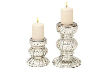 2 Piece Set Glass Candleholder Set