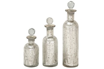 3 Piece Set Glass Stopper Bottles