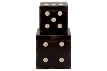 2 Piece Set Wood Dice Boxes