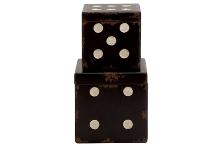 2 Piece Set Wood Dice Boxes