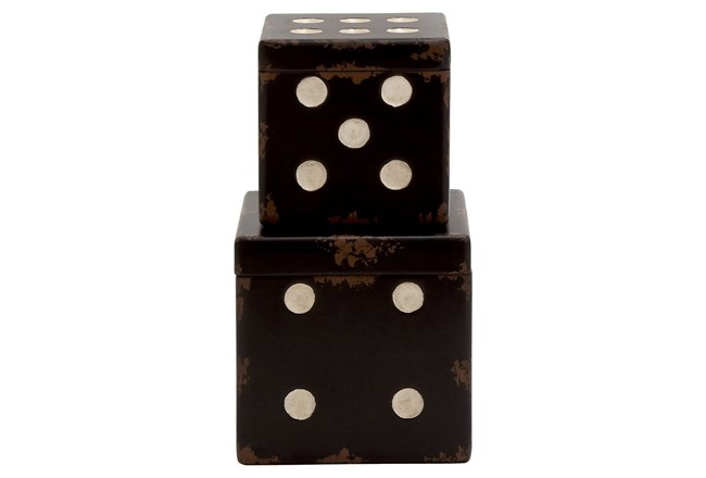 2 Piece Set Wood Dice Boxes - 360