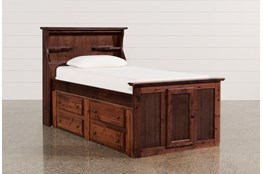 Sedona Twin Bookcase Bed With Double 4- Drawer Captains Unit