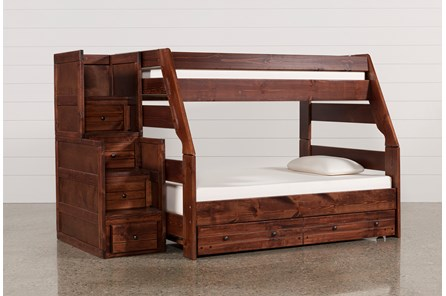 Sedona Twin Over Full Bunk Bed With Trundle/Mattress & Stair Chest