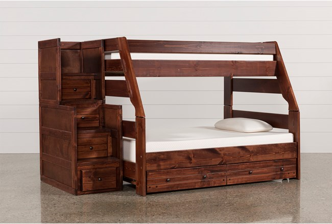 Sedona Twin Over Full Bunk Bed With Trundle/Mattress & Stair Chest - 360