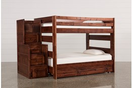 Sedona Full Over Full Bunk Bed With Trundle/Mattress & Stair Chest