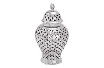 15 Inch Silver Ceramic Jar W/Lid