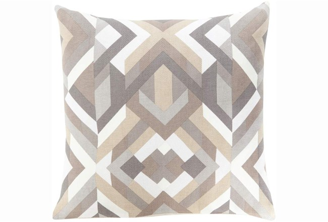 Accent Pillow-Seraphina Grey Woven Geo - 360