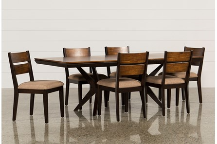 Spencer 7 Piece Rectangle Dining Set W/Wood Chairs