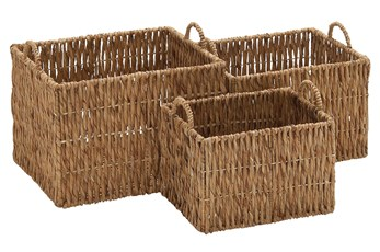 3 Piece Set Seagrass Baskets W/Handles
