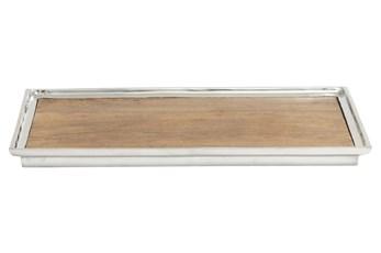 Aluminum & Wood Rectangle Tray