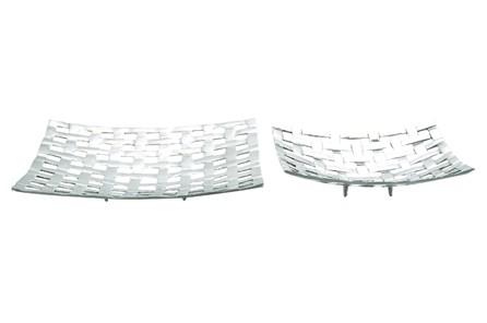 2 Piece Set Lattice Aluminum Trays